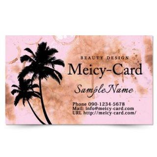 【 可愛い名刺 】 サロン名刺・ショップカード|ロミロミ・リラクゼーションサロンに!ハワイアンヤシの木デザイン01