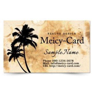 【 可愛い名刺 】 サロン名刺・ショップカード|ロミロミ・リラクゼーションサロンに!ハワイアンヤシの木デザイン02