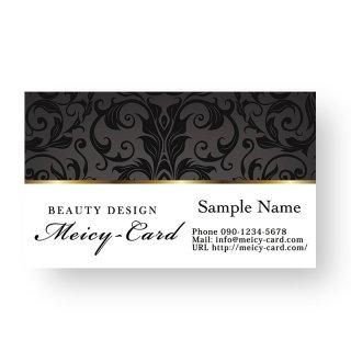 【 可愛い名刺 】 サロン名刺・ショップカード|エステ・ネイルサロン向け|上品ダマスク柄デザイン02