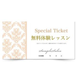 【クーポンチケット・割引券】ネイルやエステ向け高級感ハーフダマスクデザイン01