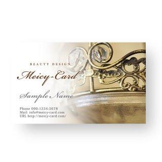 【 可愛い名刺 】 サロン名刺・ショップカード|アンティークスタイルシンプルデザイン02
