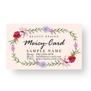 【 可愛い名刺 】 サロン名刺・スタンプカードに|美容サロン向け!可愛いフェミニンフラワーデザイン04