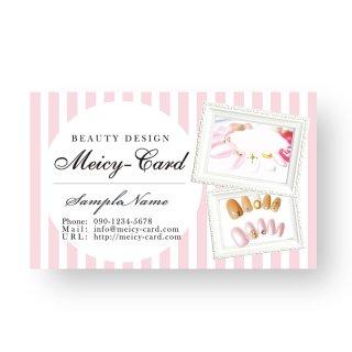 【 可愛い名刺 】 サロン名刺・スタンプカードに|美容サロン向け!ガーリーストライプデザイン01
