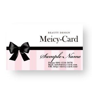 【 可愛い名刺 】 サロン名刺・ショップカード|フェミニンストライプ柄(ピンク)