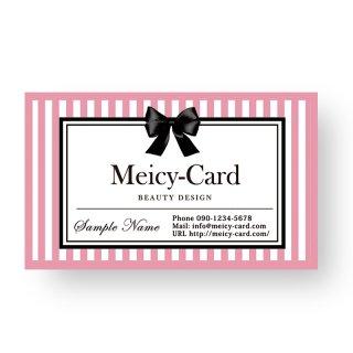 【 可愛い名刺 】おしゃれサロン名刺|エステ・ネイルに!リボンストライプ美容名刺・ショップカード(ピンク)