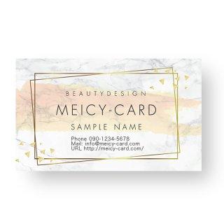 【 可愛い名刺 】 サロン名刺・ショップカード|大理石風サロンデザインカード02