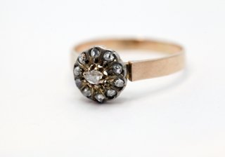 1890  ヨーロッパ製<BR>ダイヤモンドフラワーリング