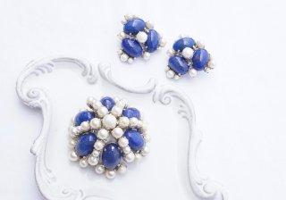 1960  Christian Dior<BR>ブルーパールブローチ&イヤリング