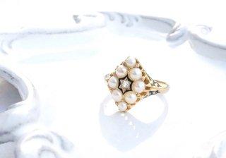 1871  イギリス製<BR>ダイヤモンド&パールリング