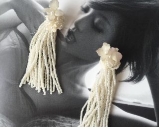 Beads tassel  Pierced & Earrings - hydrangea -