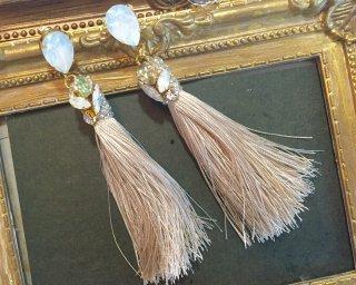 Bijou tassel Pierced & Earrings -white opal-