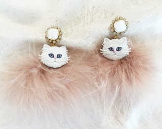 Cat fur Pierced & Earrings -white-