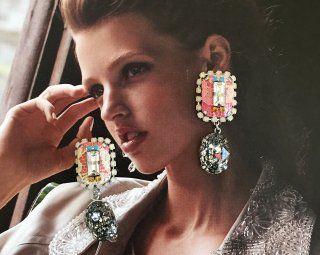 Lace bijou earrings-silver black