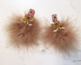 Antique bijou fox fur earrings