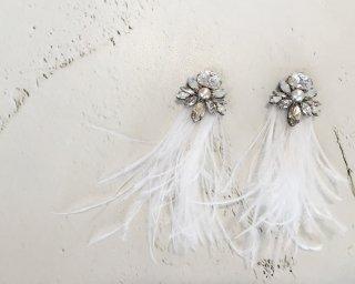 Fringe feather swarovski bijou Pierced&Earrings