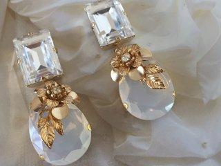 Jewel flower  drop  Pierced&Earrings