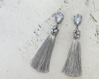 Bijou tassel Pierced&Earrings  -Silver lace-