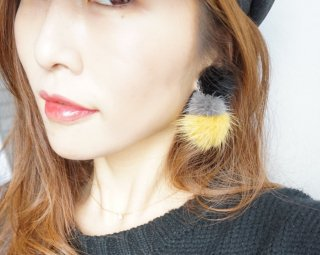 Mink fur bonbon Pierced&Earrings
