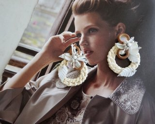 Rattan flower  Pierced&Earrings- natural-