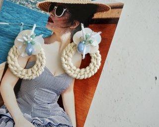 rattan flower Pierced&Earrings - blue -