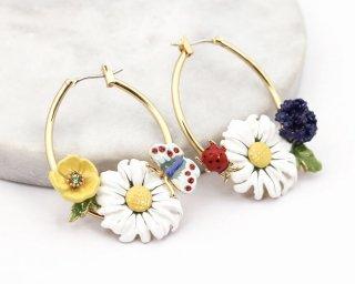 【即納】Spring daisy 14K gold hoop pierced