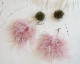 Arrange fur Pierced&Earrings  /Olive Pink
