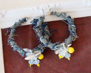 Denim beads hoop Pierced