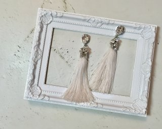 Silver tassel Pierced & Earrings
