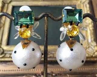 Honey bee dot Pierced & Earrings -green-