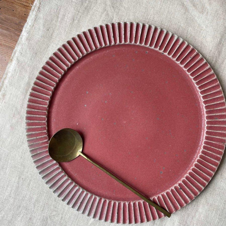 宋艸窯 鎬平皿 大 マット赤