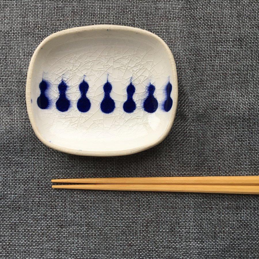 芦澤和洋 長方豆皿 青 1