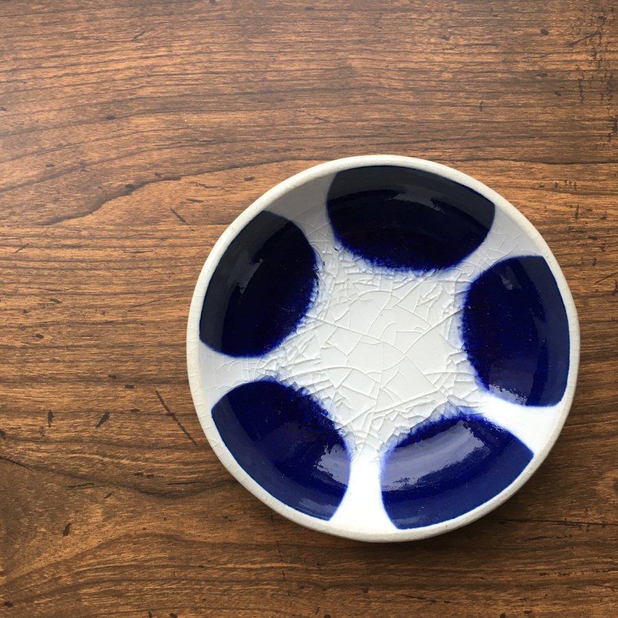 芦澤和洋 丸豆皿 青 a