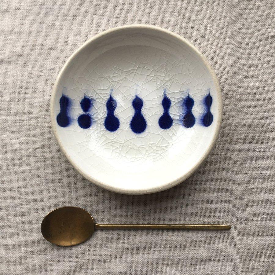芦澤和洋 丸豆皿 青 b