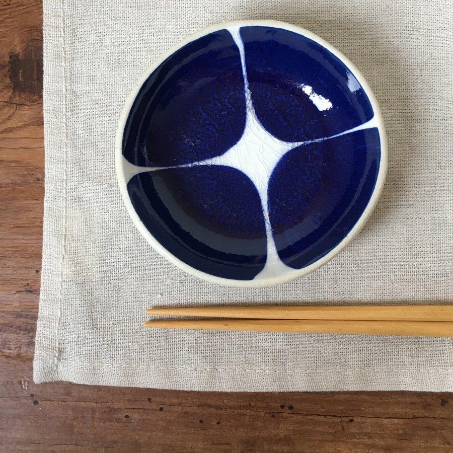 芦澤和洋 丸豆皿 青 d