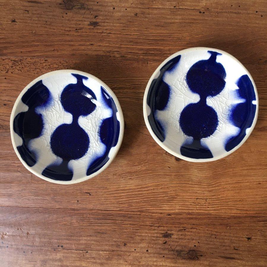 芦澤和洋 丸豆皿 青 e