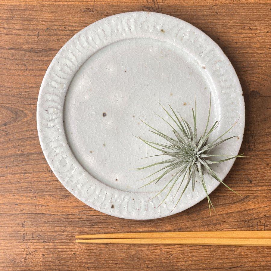 伊藤豊 花紋6.5寸プレート 粉引