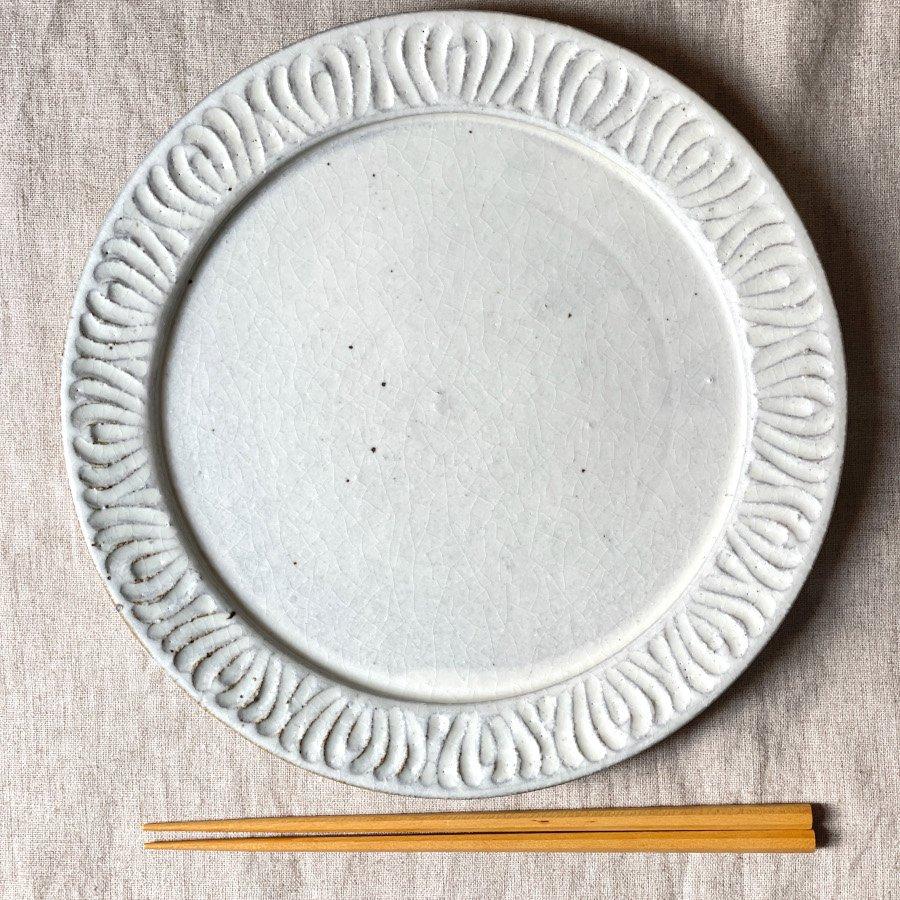 伊藤豊 花紋8.5寸プレート 粉引