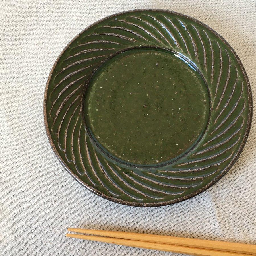 伊藤豊 ナナメしのぎ5.0寸プレート グリーン