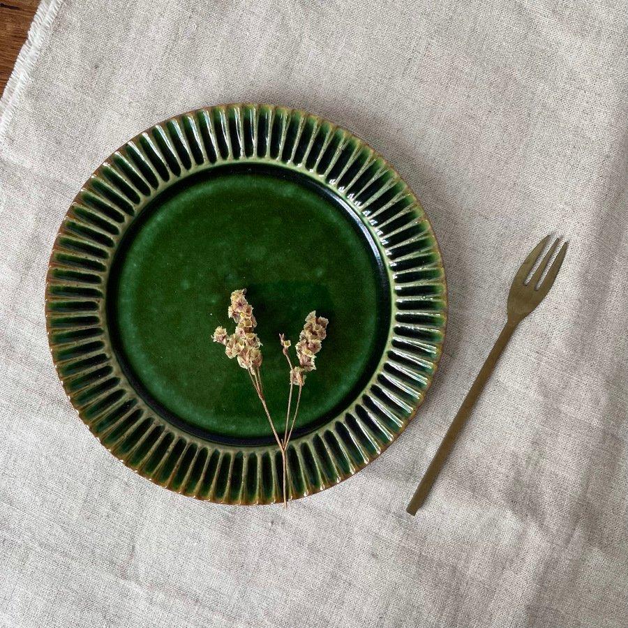 宋艸窯 鎬平皿 小 緑
