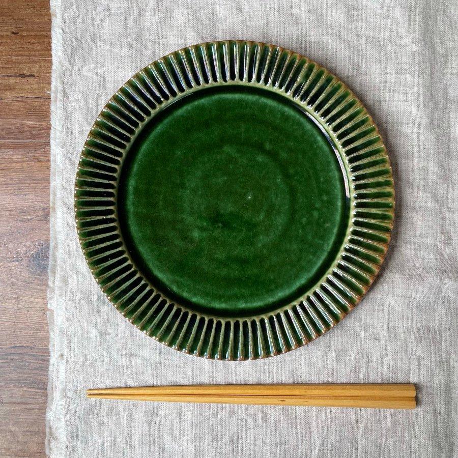 宋艸窯 鎬平皿 中 緑