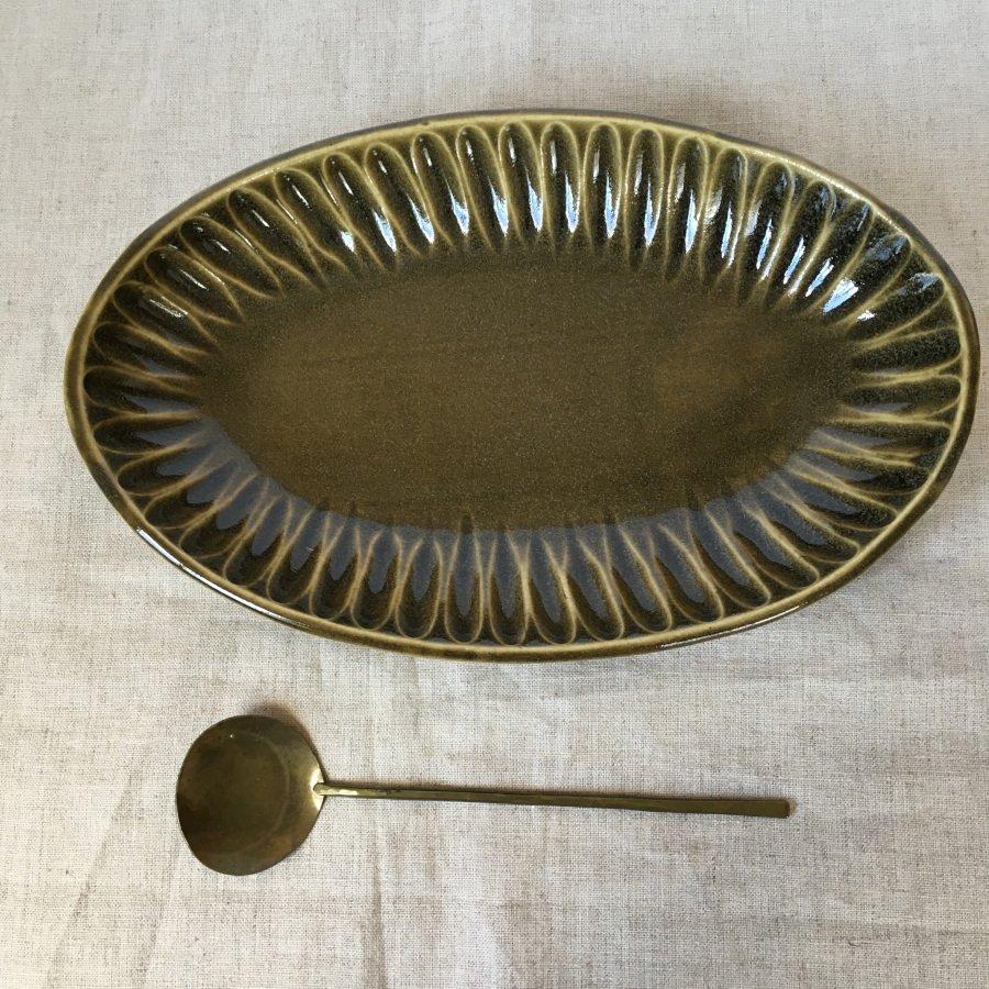 村山大介陶芸研究所 しのぎ楕円鉢 オリーブ