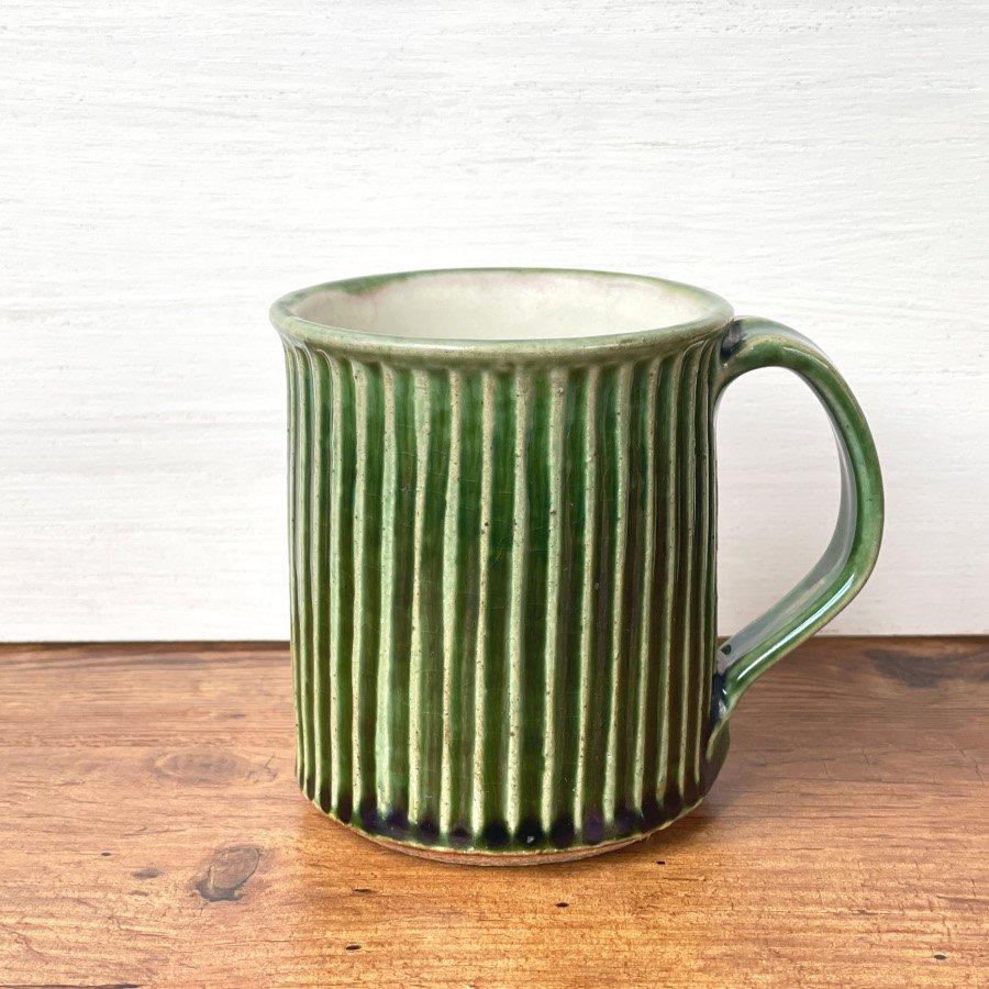 宋艸窯 マグカップ(切立タイプ) 緑