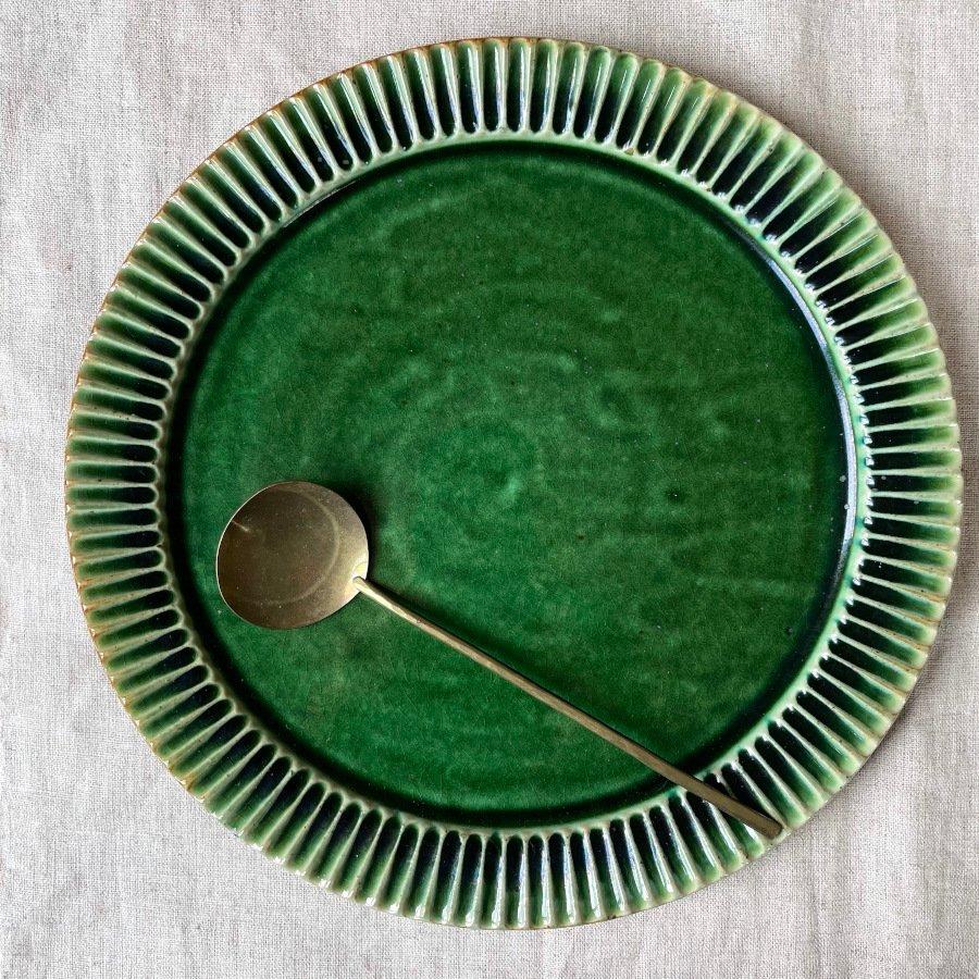 宋艸窯 鎬平皿 大 緑