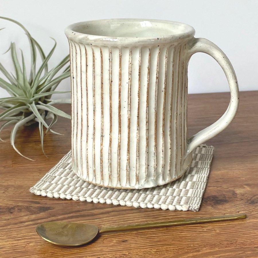 宋艸窯 マグカップ(切立タイプ) 白(粉引)