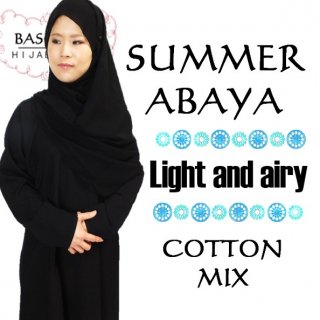 PLAIN ABAYA<br>with HIJAB<br>COTTON MIX<br>FOR SUMMER</br>春秋〇 夏◎ 冬△<br>XS〜XL