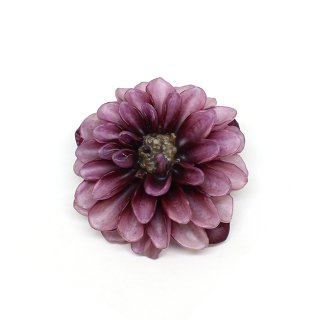 ダリア ブローチ(うす紫エンジ)
