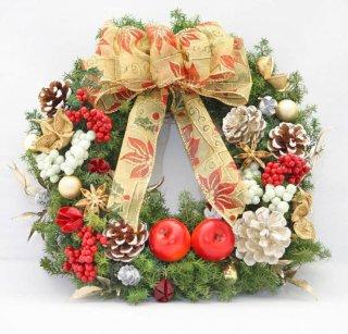 クリスマスリース red&gold/プリザーブドフラワー