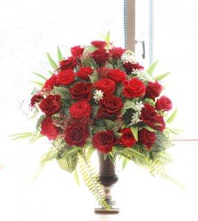 開業・開店・移転お祝いにお手入れの簡単なお花プリザーブドフラワーを!/レッドローズ
