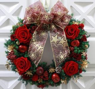 クリスマスリース レッド/プリザーブドフラワー