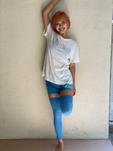 short pants & cut leggings  Blue